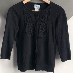3/4 Sleeve Embroidered Black Cardigan Anthro